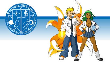 Demongate High: Foxtail and Juno (WIP) by phoenixsamurai