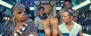 Rey's feet on the dashboard