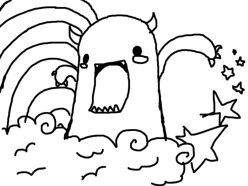 Cute Simple Line Art : Little monster line drawing by angelsfiishy on deviantart