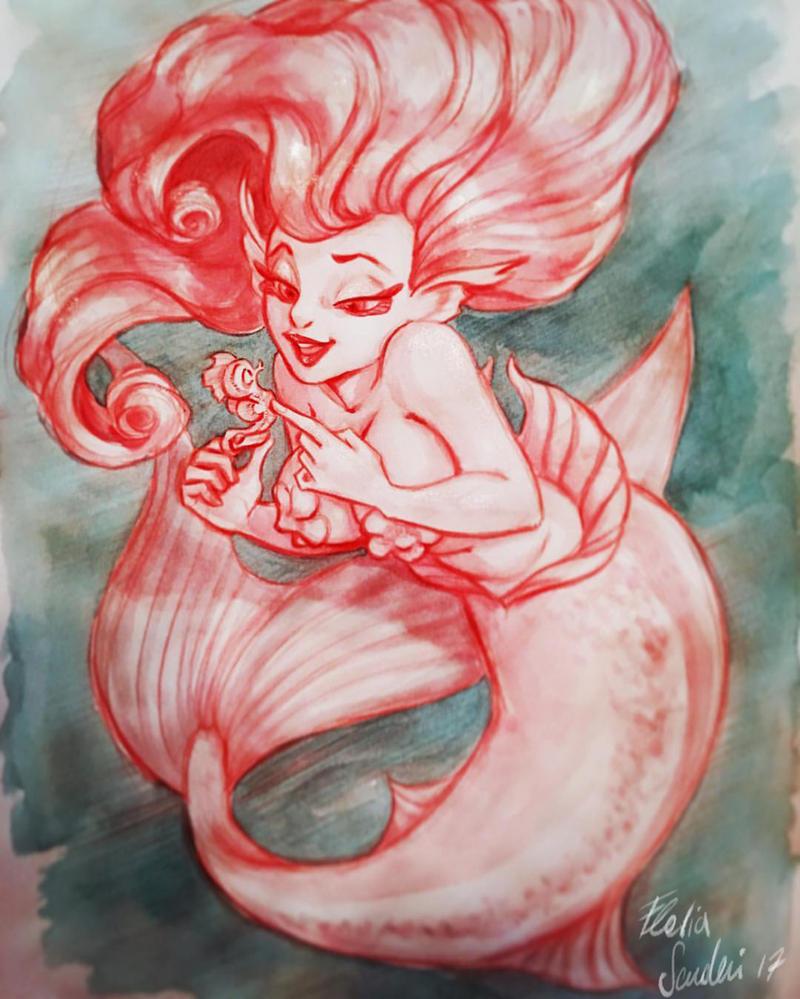 Mermaid and little seahorse Skudo by Skudo