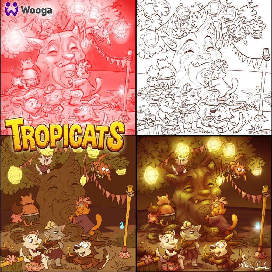 Tropicats Tika tree  illu by Skudo