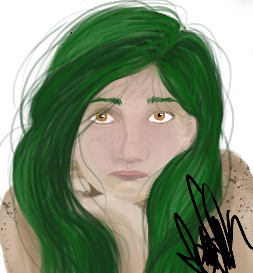 Chubby Faced Green Haired Lady by SassyIssy