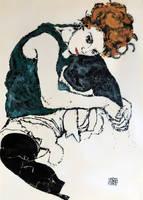 Schiele's wife, canvas version by sykonurse