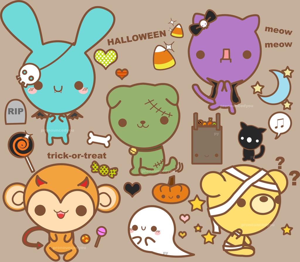halloween stickerthings by pronouncedyou on DeviantArt - Cute Halloween Stuff