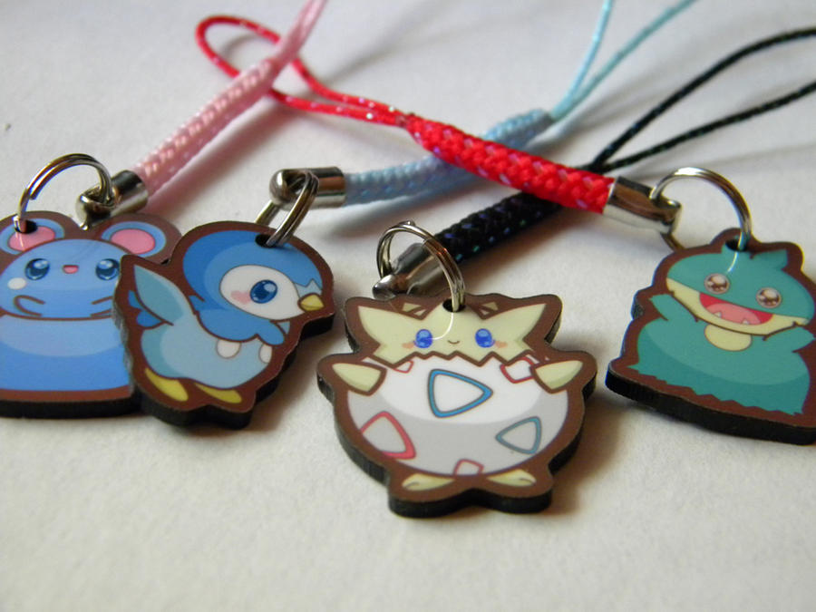 Pokeman Cellphone Charms by pronouncedyou