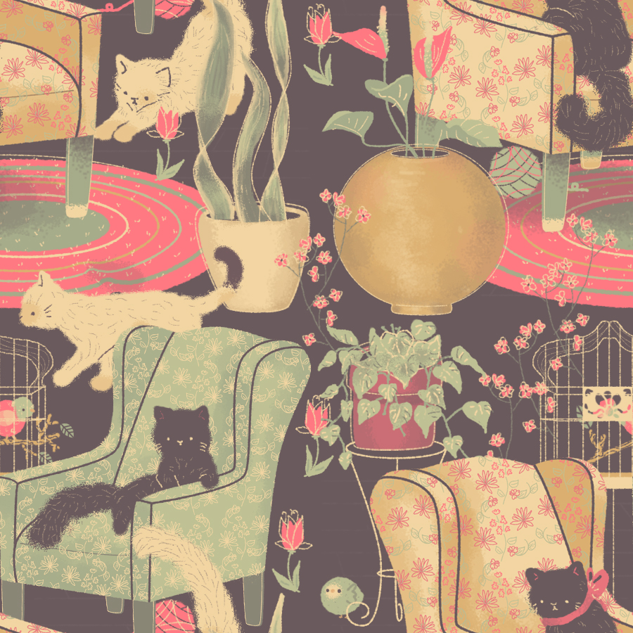 Cat Lady Pattern by pronouncedyou on DeviantArt