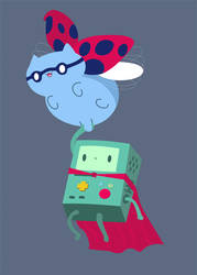 Catbug and Beemo by pronouncedyou