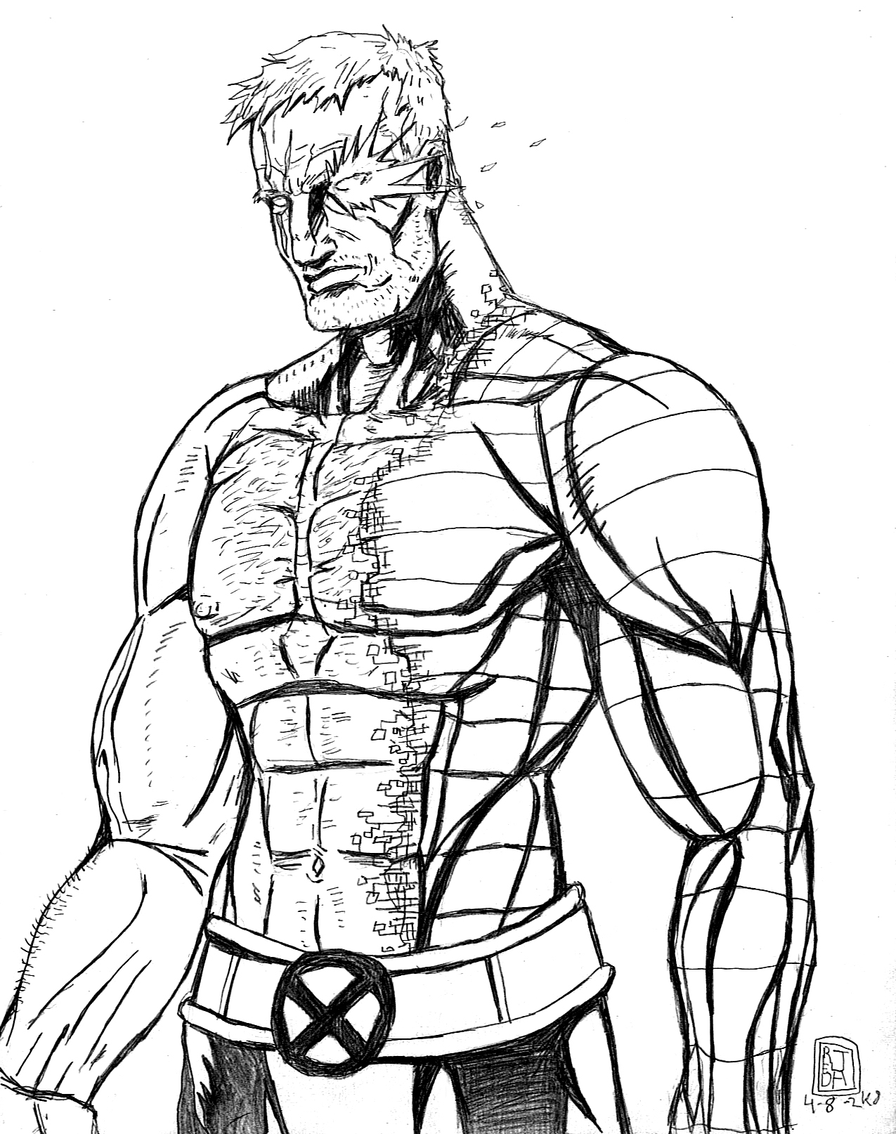 Line Art Marvel : Cable line art by jaredjlee on deviantart