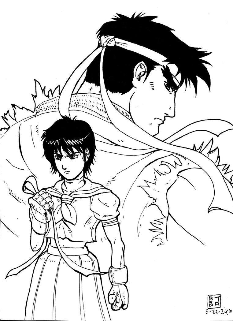 Ryu and Sakura by jaredjlee