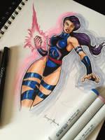 Psylocke Doodle by amonkeyonacid