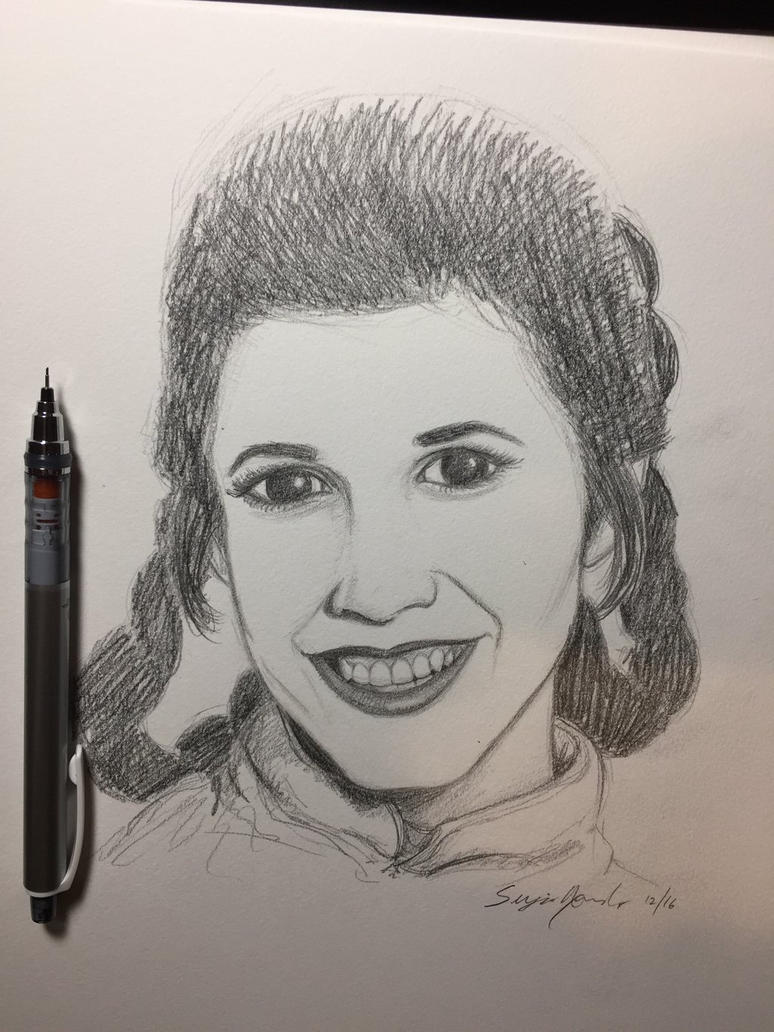 Carrie Fisher by amonkeyonacid