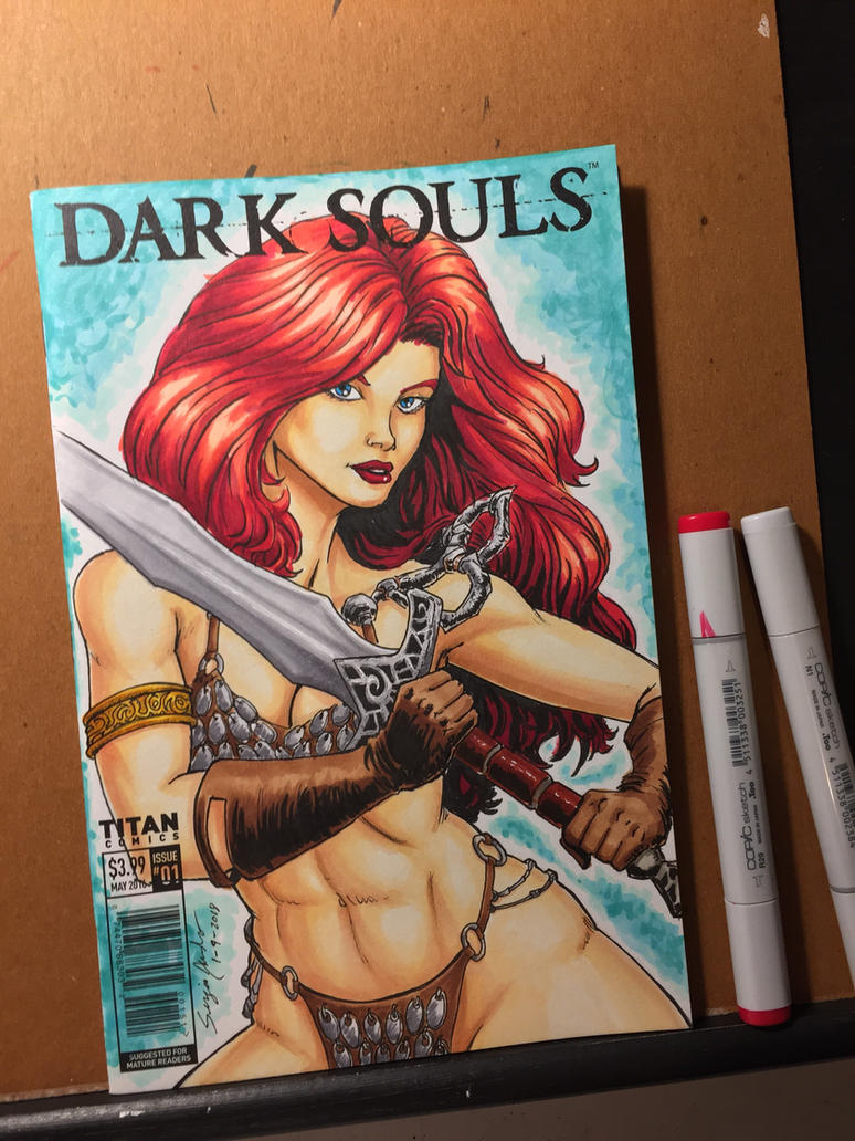 Red Sonja / Dark Souls sketch cover  by amonkeyonacid