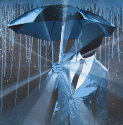 Umbrella Blues Painting by Gcrackle1