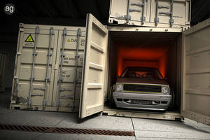 Golf Mk2 Low and Wide - Shipping Container Scene by AlexandreGuilbeault