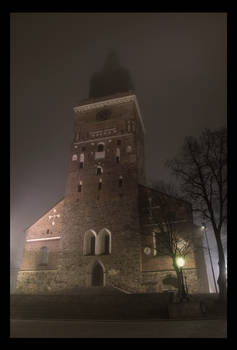 Cathedral in fog