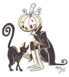 inktober 7: Pumpkin head and kitty by ktshy