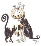 inktober 7: Pumpkin head and kitty