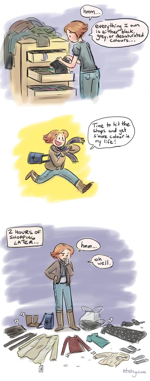 A doodle comic about my fashion habits