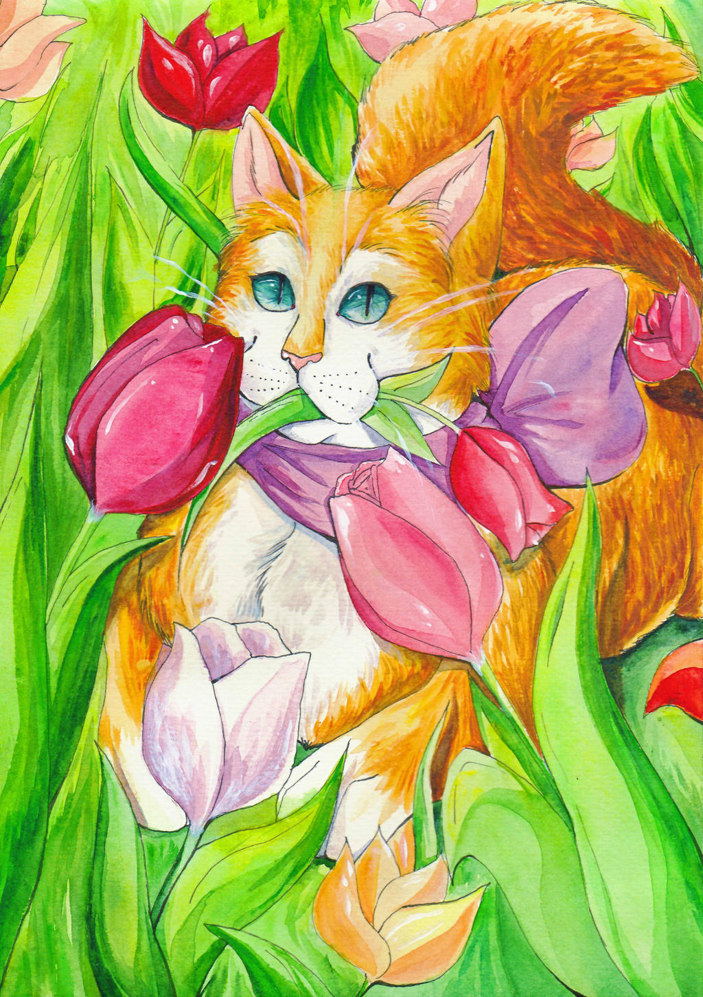cat in tulips by artist-Kat