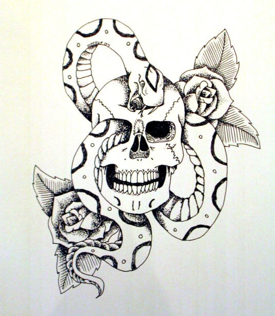 skull snake and roses by art-of-marcus on DeviantArt