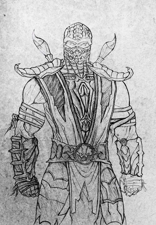 Scorpion MK9 sketch by AlfaSkream on DeviantArt