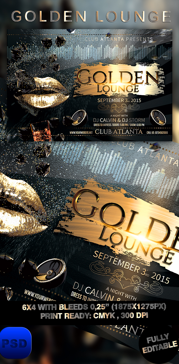 Golden Lounge Flyer Template by stormclub on DeviantArt – Lounge Flyer Template
