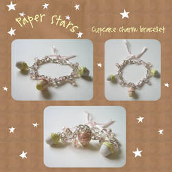 Cupcake charm bracelet by paperstars-shop