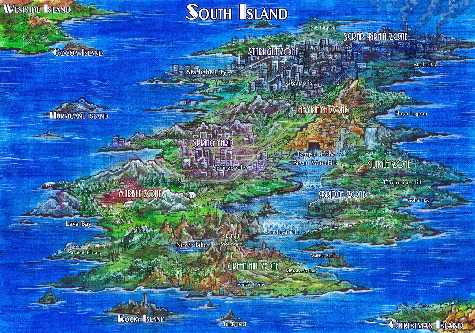 South Island - Map (Sonic ChotGH version) by Liris-san on DeviantArt