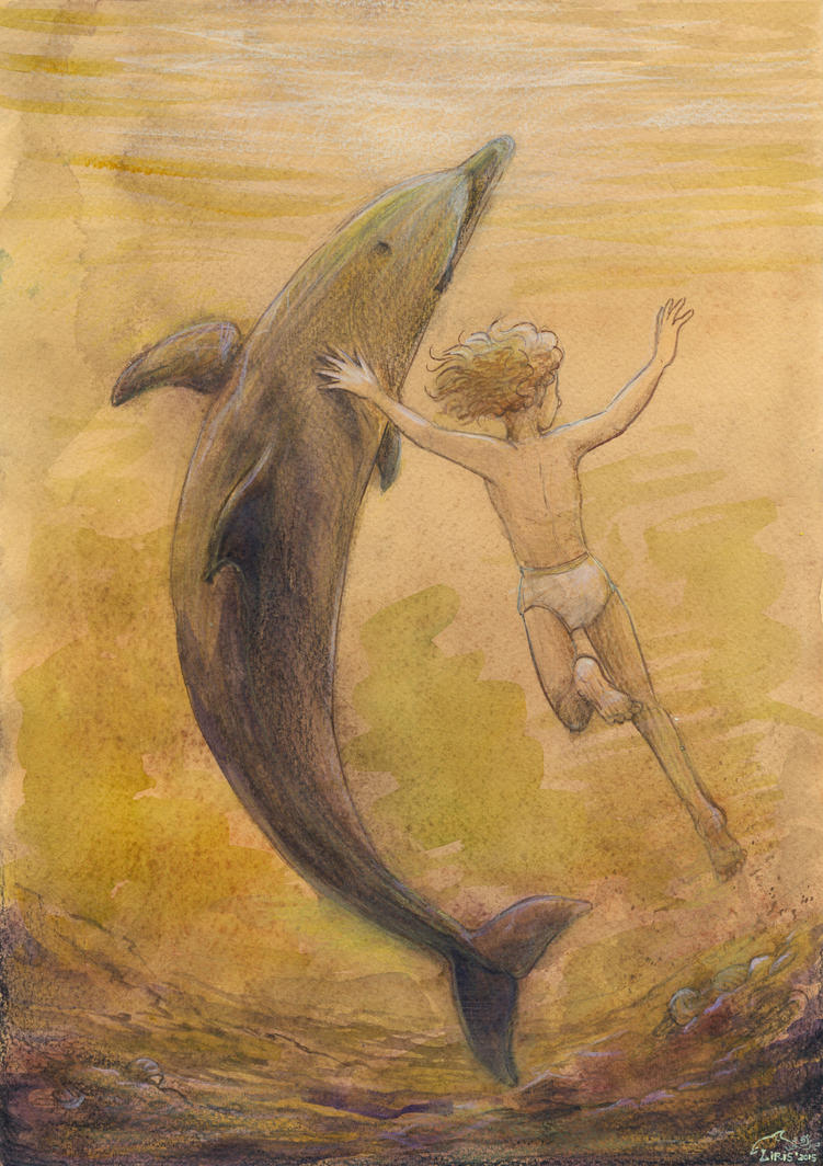 A girl and a dolphin by Liris-san