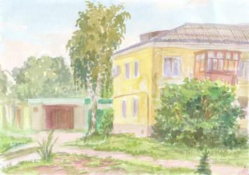 A House and a Birch Tree by Liris-san
