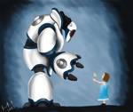 Robot and little girl by dangerousllama