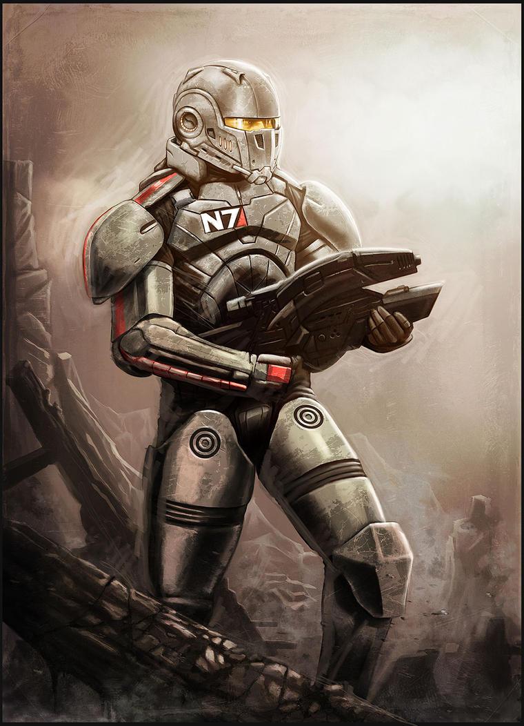 Commander Sheppard combat by digitalinkrod