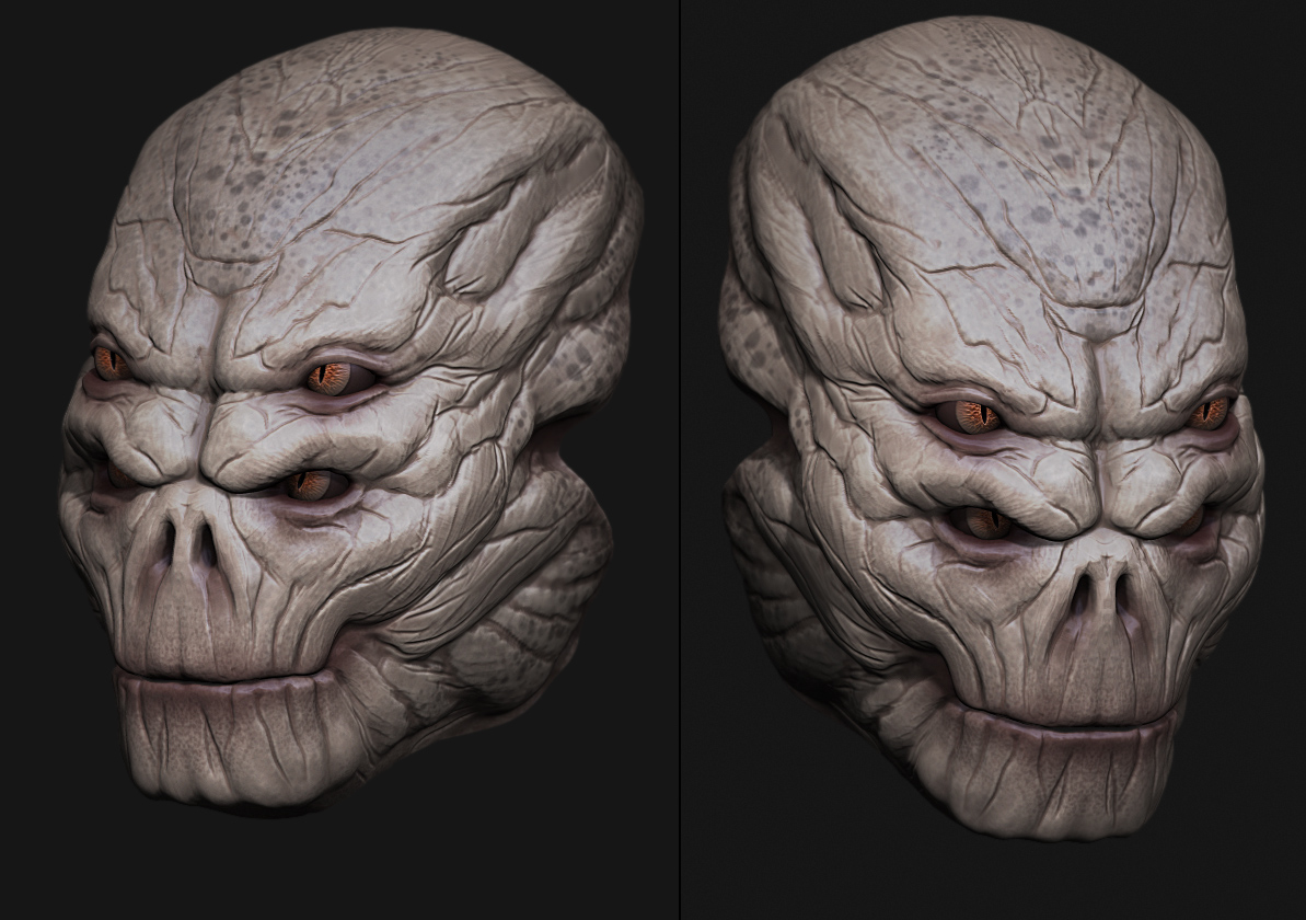 Alien head sculpt by digitalinkrod