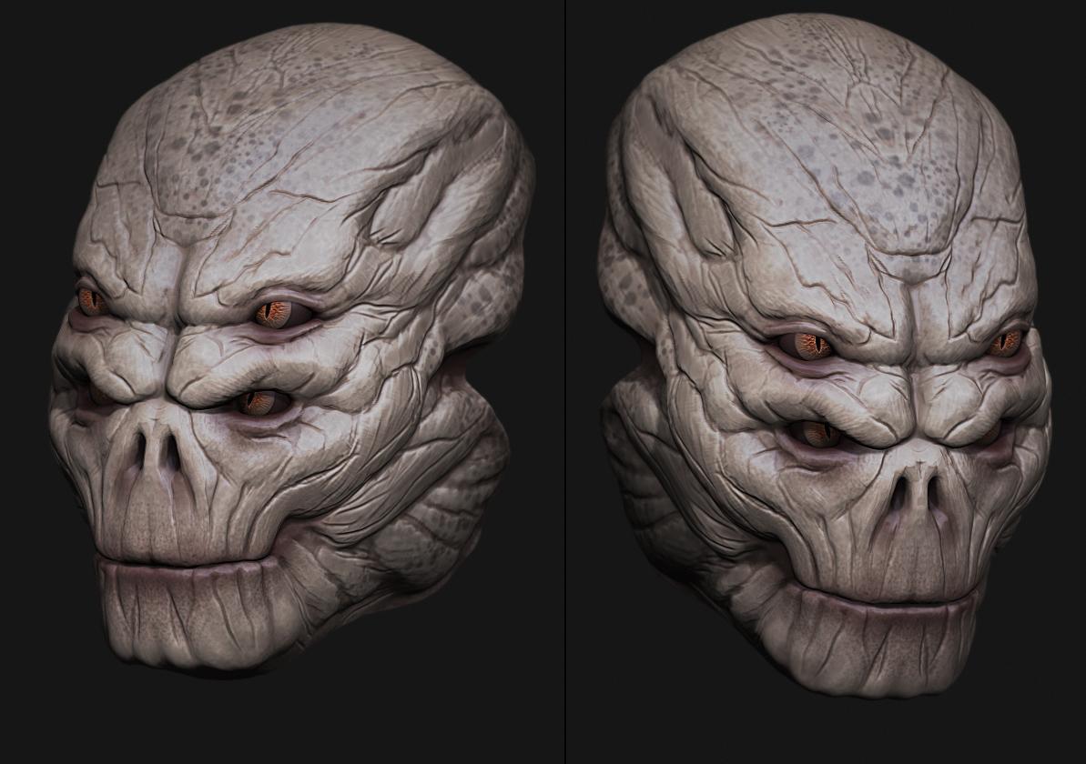 Alien head sculpt by digitalinkrod