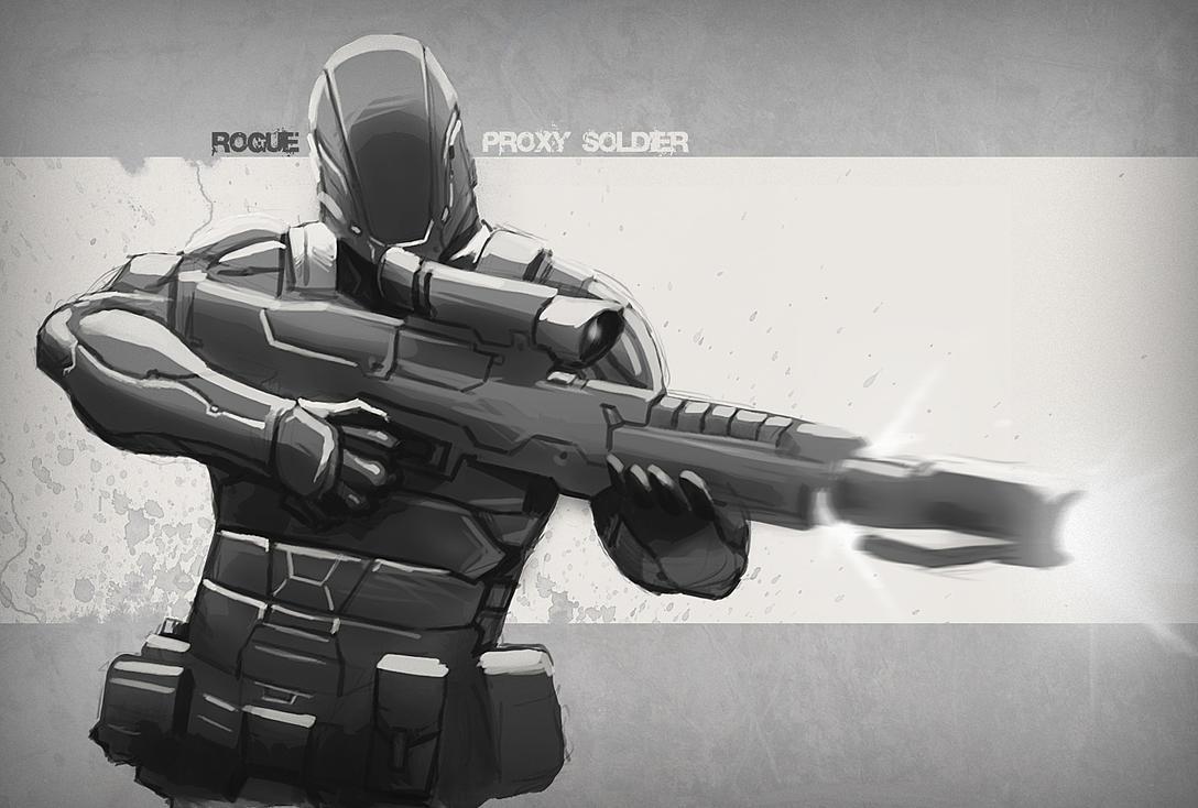 Proxy soldier sketch 2 by digitalinkrod