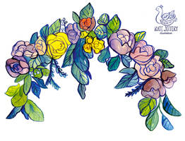 Flower Garland- Watercolor by nettlebeast