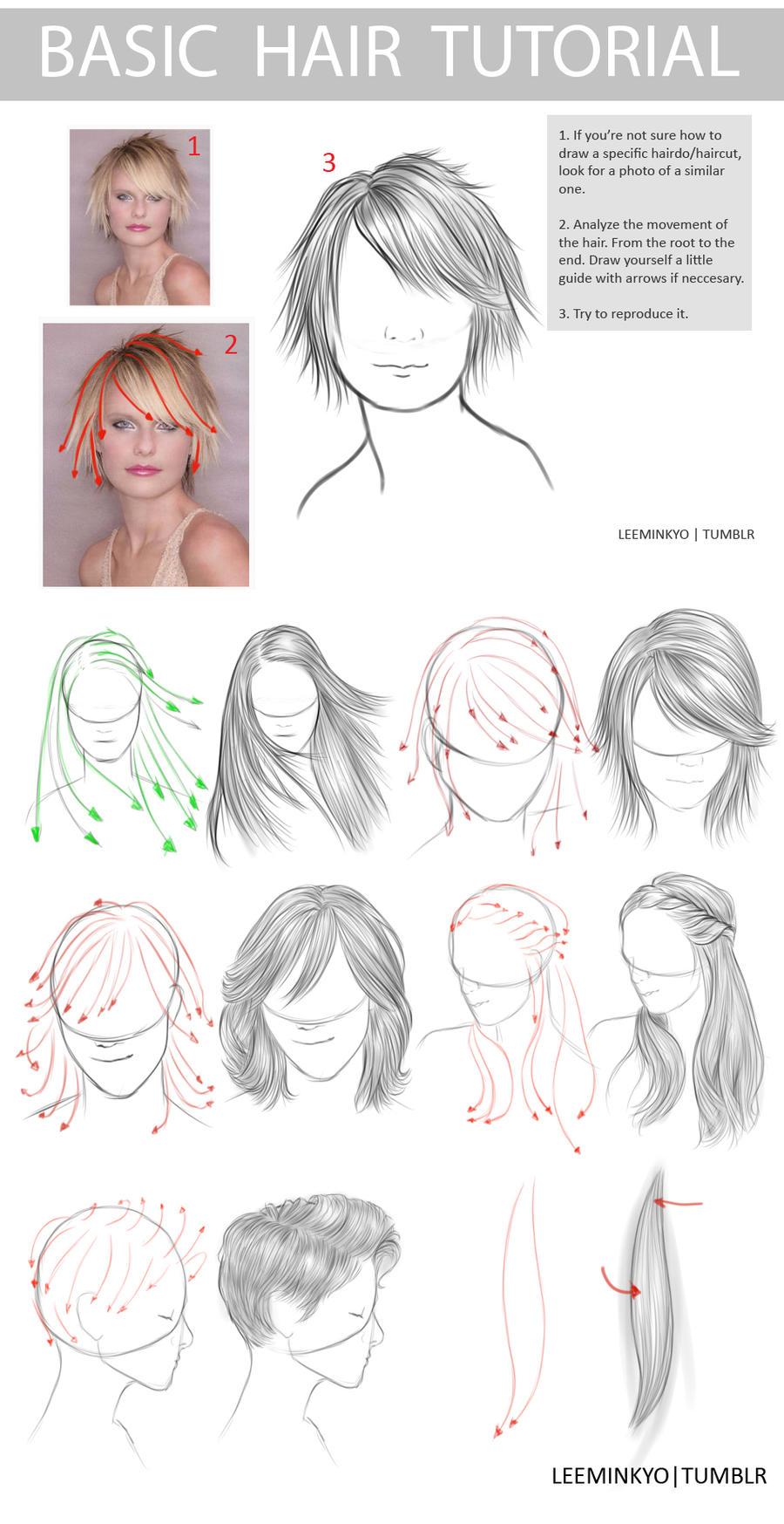 Scribble Drawing Tutorial : Basic hair tutorial styles by leeminkyo on deviantart