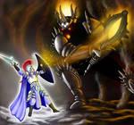 Elven high king Fingolfin challenges Morgoth by aSatyrAndHisElf