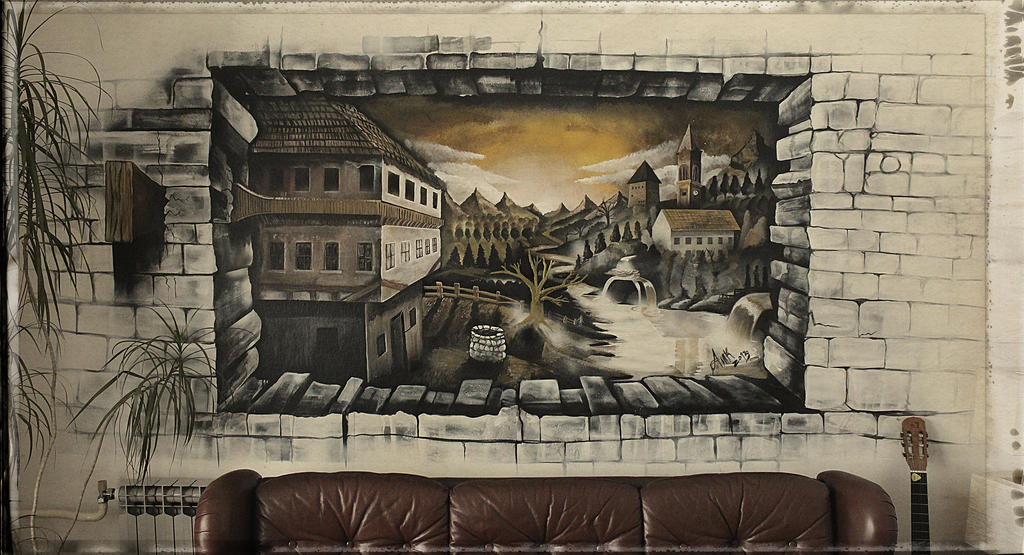 Bihac city in 3d wall mural by anikowski on deviantart for 3d street painting mural art