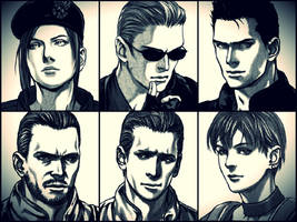 Resident Evil 1: Charecters by saifbeatsart