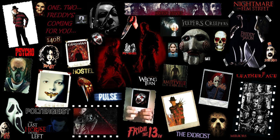 Horror Movie Characters Collage Watch Movie English – Fondos de Pantalla