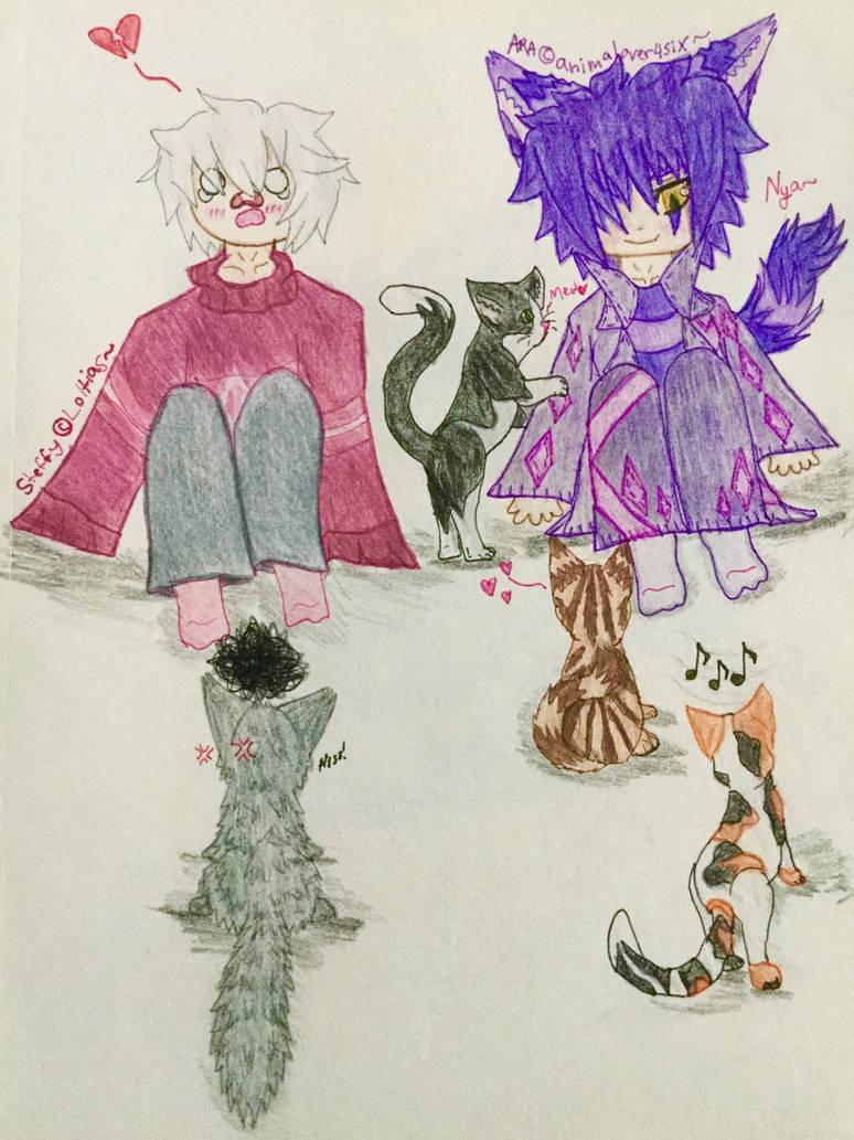 Ara and Steffy with nekos~ by animalover4six