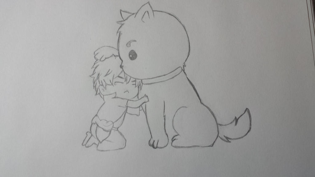 Gintoki and Sadaharu chibi  by otakumanga123