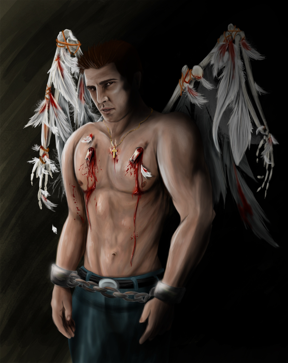 male nude angel crying