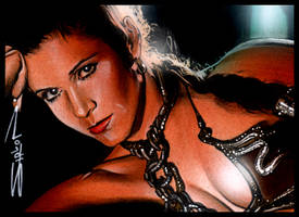 Slave Leia Sketch Card 4 by RandySiplon