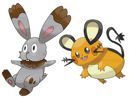 Dedenne And Bunnelby by TheAngryAron