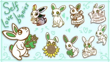 Self Love Bunny pin designs