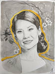 Portrait of Lucy Liu with Flowers