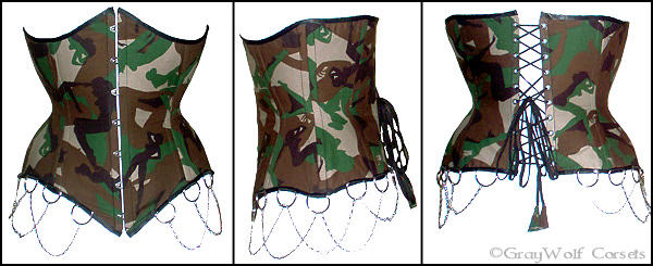 Camouflage underbust corset by Illahie