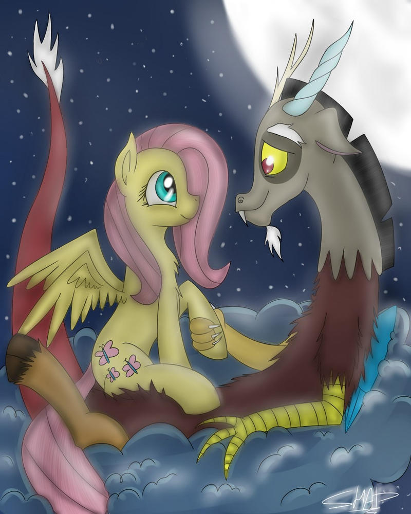 Discord and Fluttershy by Shadowh00f